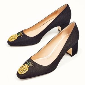 ZARA Dark Denim & Pineapple Jewel Heels